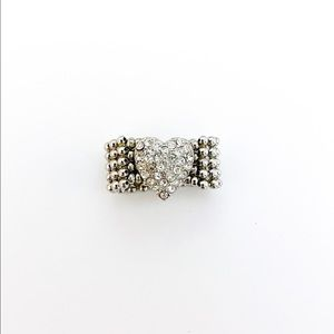 Guess Silver Tone Adjustable Beaded Heart Ring